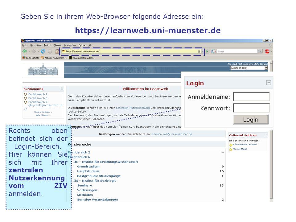 Geben Sie in ihrem Web-Browser folgende Adresse ein: