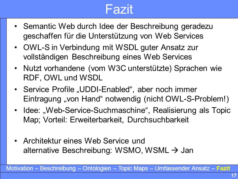Fazit Semantic Web durch Idee der Beschreibung geradezu geschaffen für die Unterstützung von Web Services.