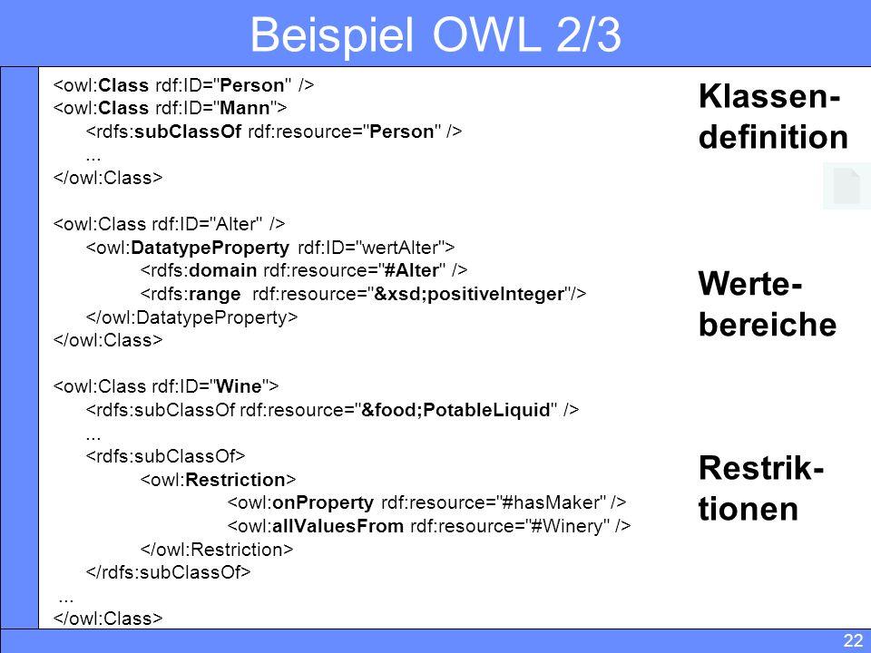 Beispiel OWL 2/3 Klassen- definition Werte- bereiche Restrik- tionen