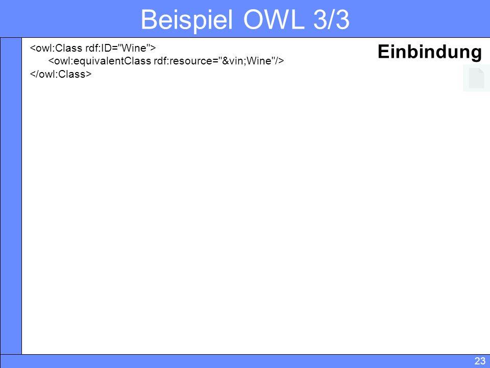 Beispiel OWL 3/3 Einbindung <owl:Class rdf:ID= Wine >