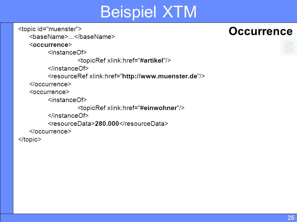 Beispiel XTM Occurrence <topic id= muenster >