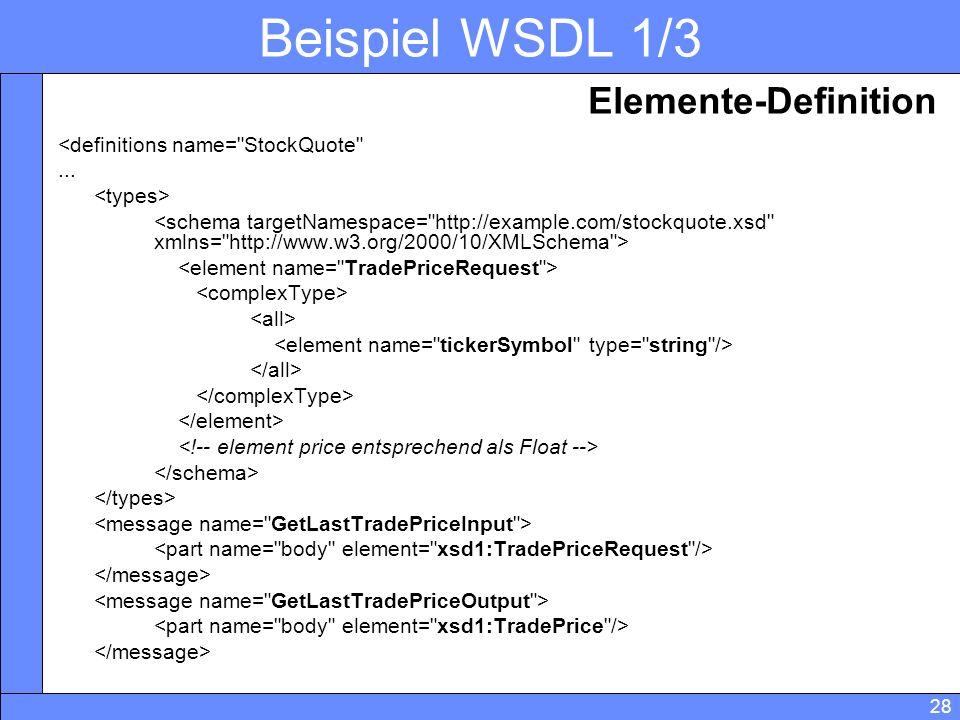 Beispiel WSDL 1/3 Elemente-Definition