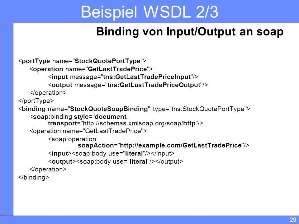 Beispiel WSDL 2/3 Binding von Input/Output an soap