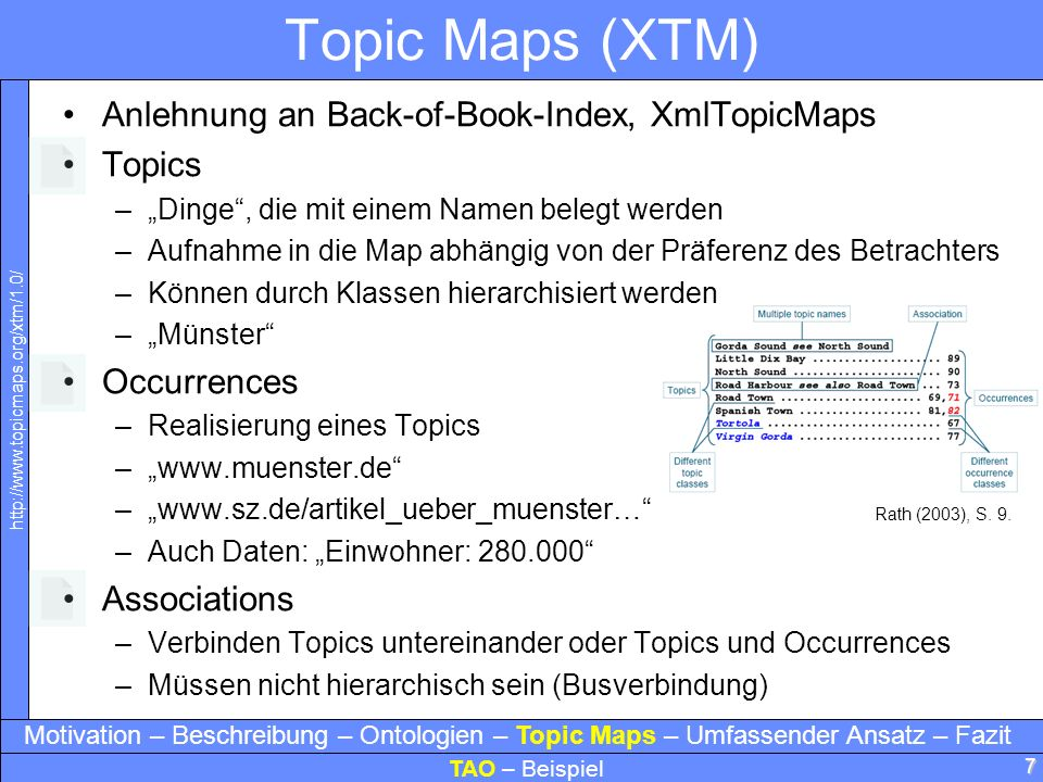 Topic Maps (XTM) Anlehnung an Back-of-Book-Index, XmlTopicMaps Topics