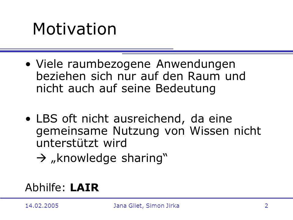Motivation Viele raumbezogene Anwendungen beziehen sich nur auf den Raum und nicht auch auf seine Bedeutung.