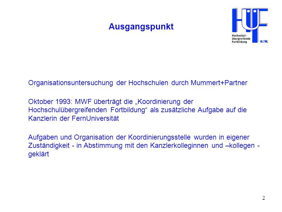 Ausgangspunkt Organisationsuntersuchung der Hochschulen durch Mummert+Partner.