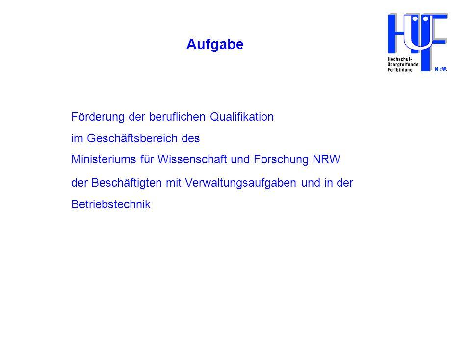 Aufgabe Förderung der beruflichen Qualifikation im Geschäftsbereich des Ministeriums für Wissenschaft und Forschung NRW.