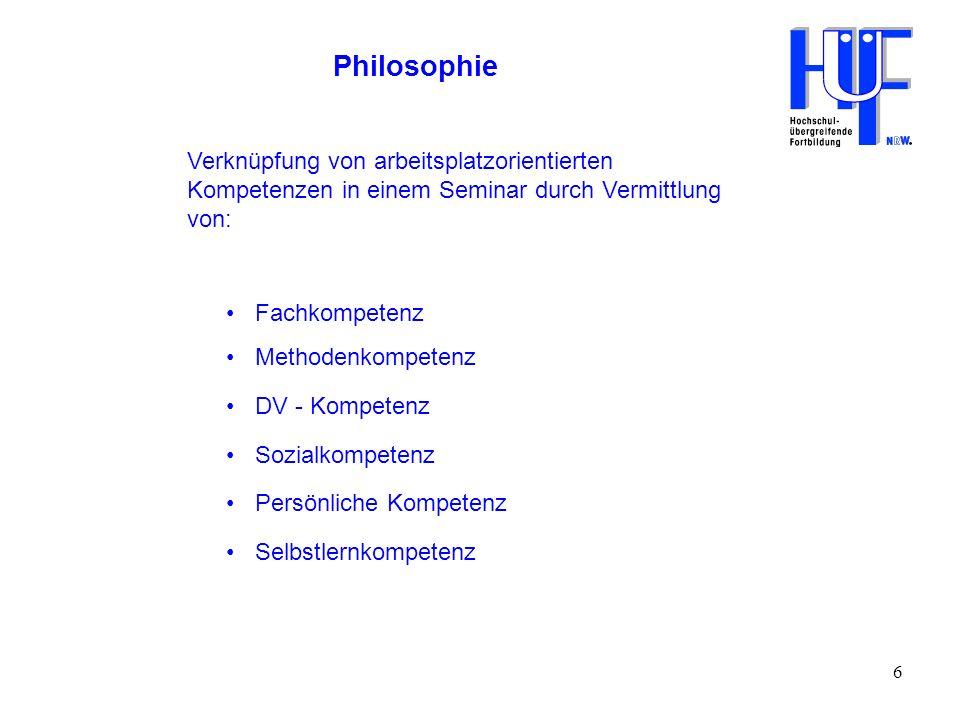 Philosophie Verknüpfung von arbeitsplatzorientierten Kompetenzen in einem Seminar durch Vermittlung von:
