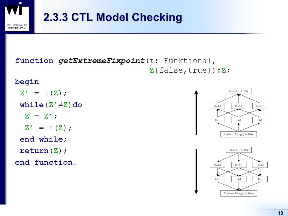 2.3.3 CTL Model Checking function getExtremeFixpoint(τ: Funktional, Z{false,true}):Z; begin.