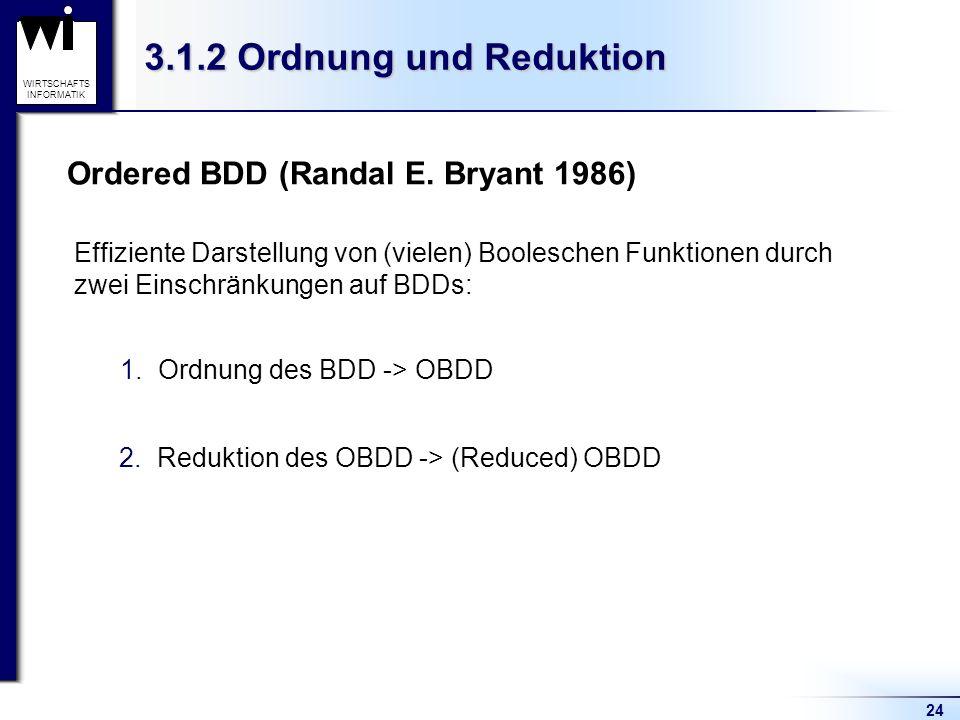 3.1.2 Ordnung und Reduktion Ordered BDD (Randal E. Bryant 1986)