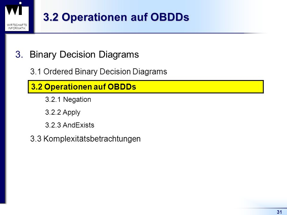 3.2 Operationen auf OBDDs Binary Decision Diagrams