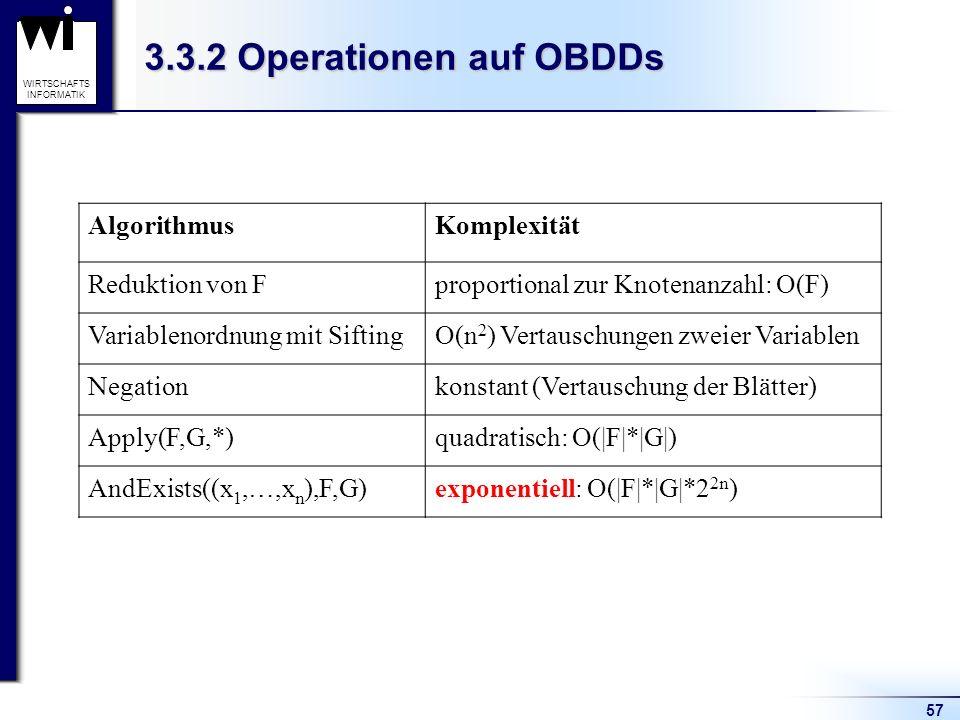 3.3.2 Operationen auf OBDDs Algorithmus Komplexität Reduktion von F