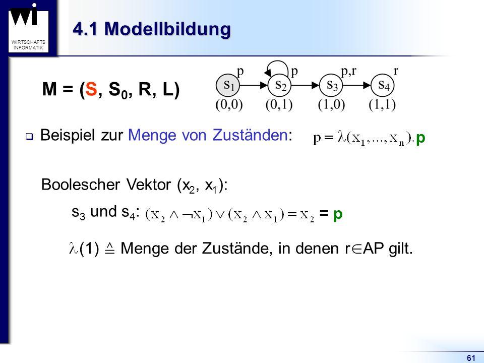 4.1 Modellbildung M = (S, S0, R, L) Beispiel zur Menge von Zuständen: