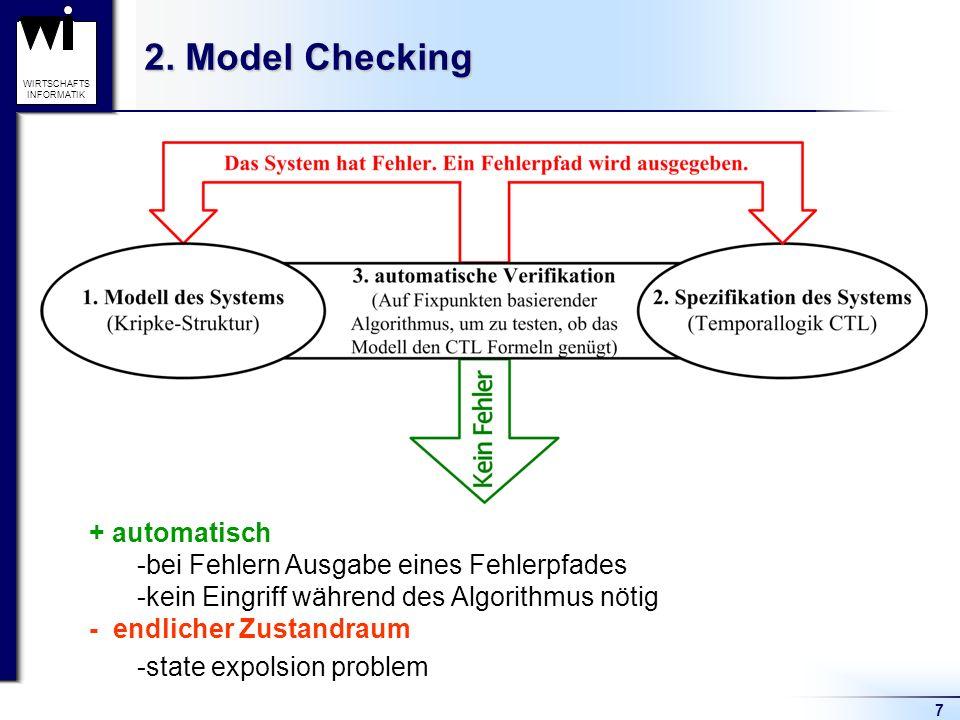 2. Model Checking + automatisch bei Fehlern Ausgabe eines Fehlerpfades