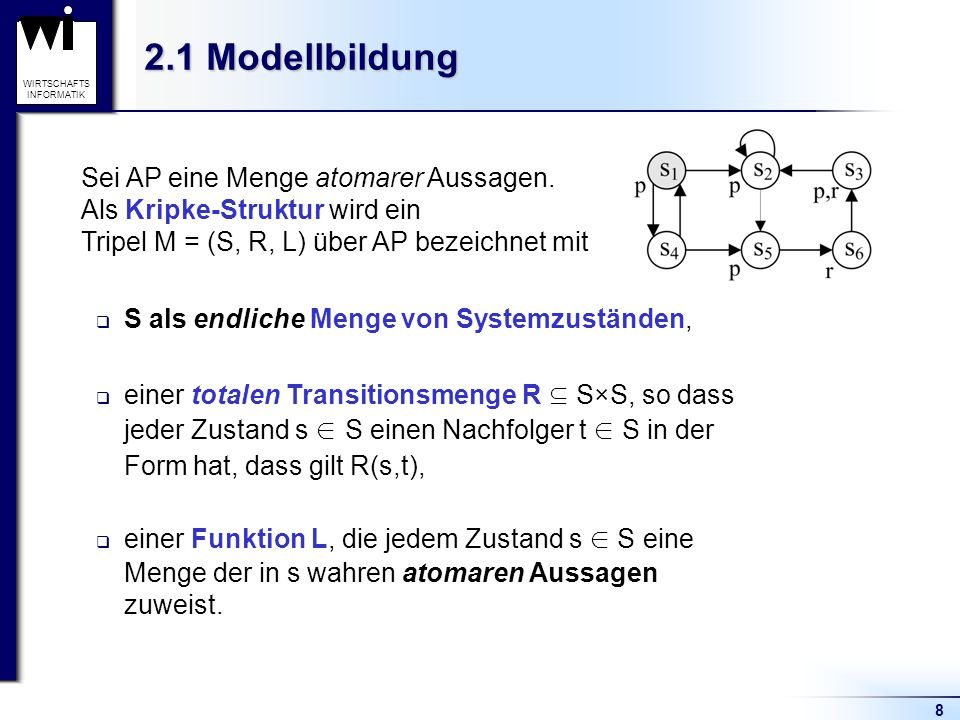 2.1 Modellbildung Sei AP eine Menge atomarer Aussagen.