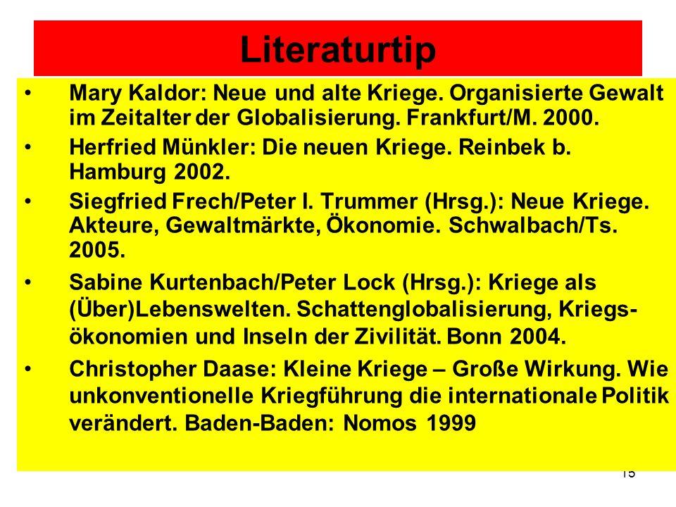 Literaturtip Mary Kaldor: Neue und alte Kriege. Organisierte Gewalt im Zeitalter der Globalisierung. Frankfurt/M. 2000.