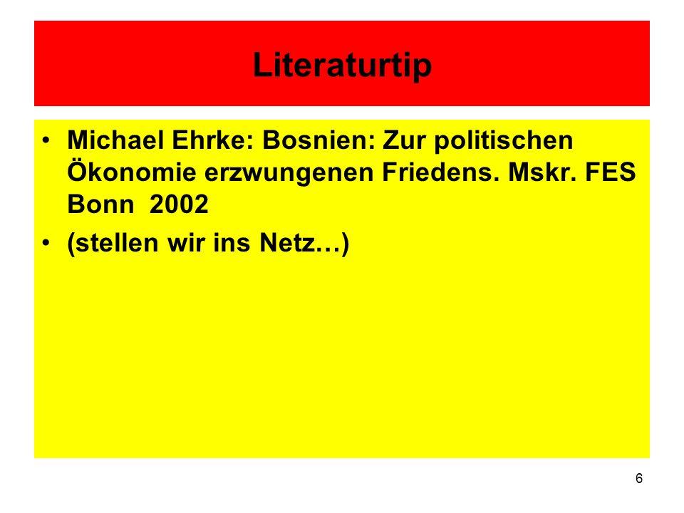 LiteraturtipMichael Ehrke: Bosnien: Zur politischen Ökonomie erzwungenen Friedens. Mskr. FES Bonn 2002.