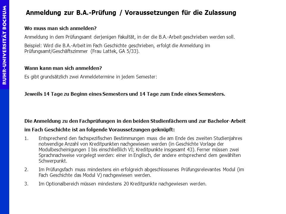 Anmeldung zur B.A.-Prüfung / Voraussetzungen für die Zulassung