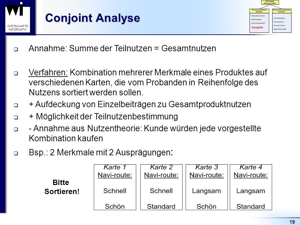 Conjoint Analyse Annahme: Summe der Teilnutzen = Gesamtnutzen
