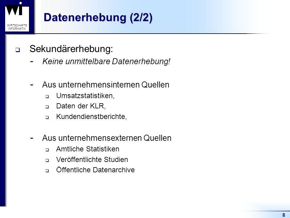 Datenerhebung (2/2) Sekundärerhebung: