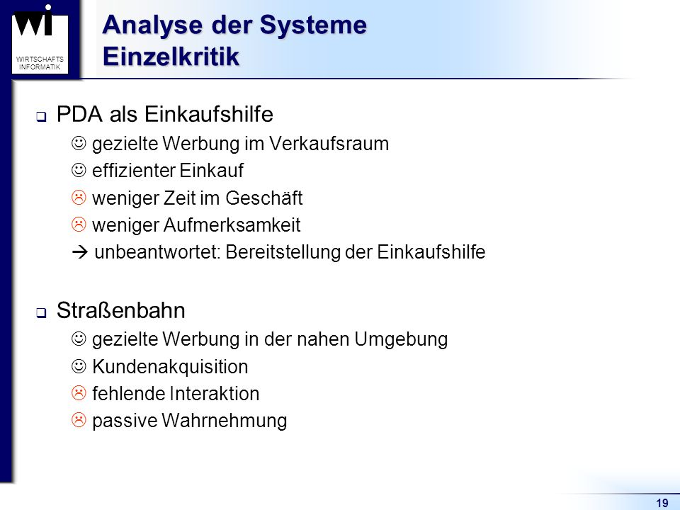 Analyse der Systeme Einzelkritik