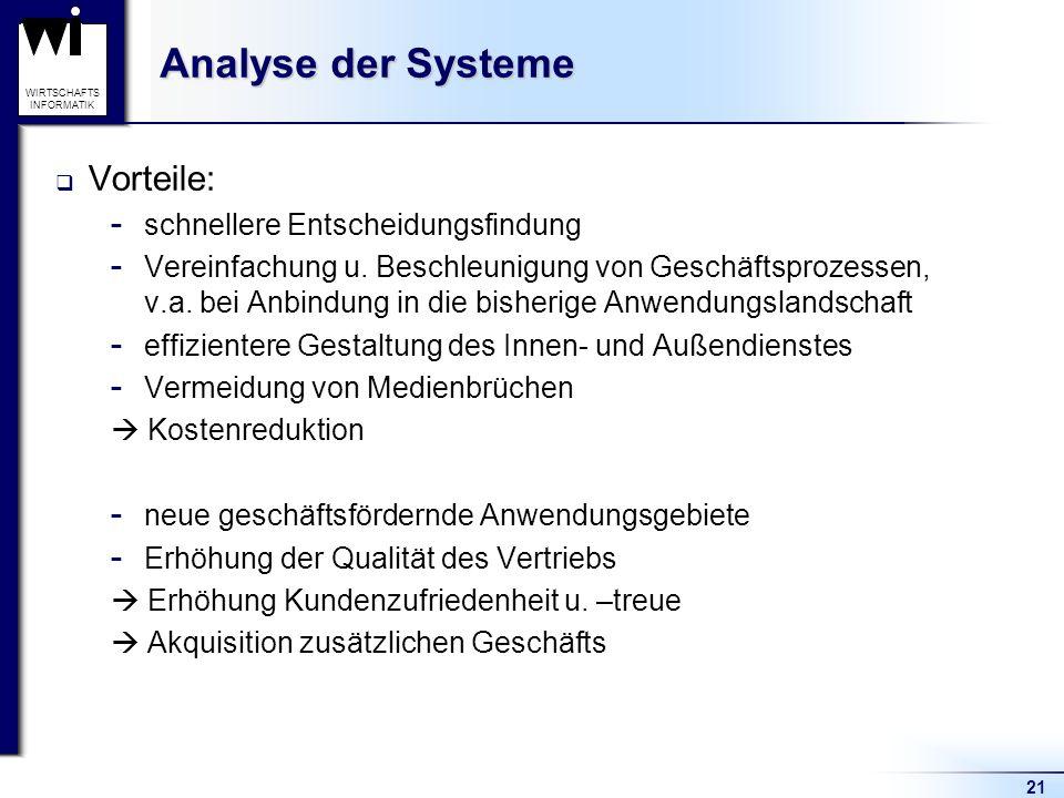 Analyse der Systeme Vorteile: schnellere Entscheidungsfindung