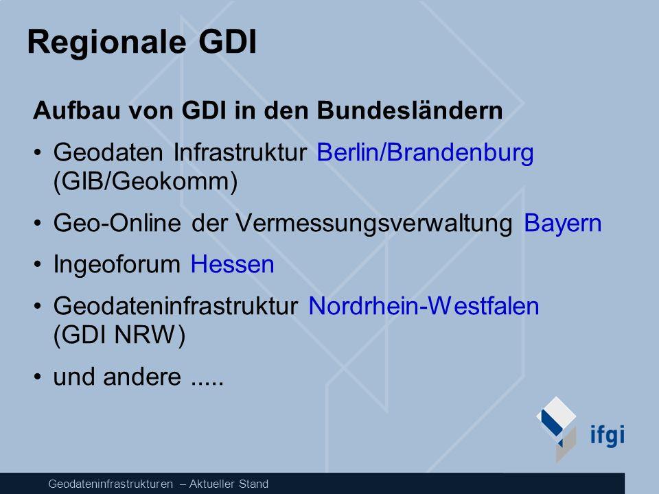 Regionale GDI Aufbau von GDI in den Bundesländern