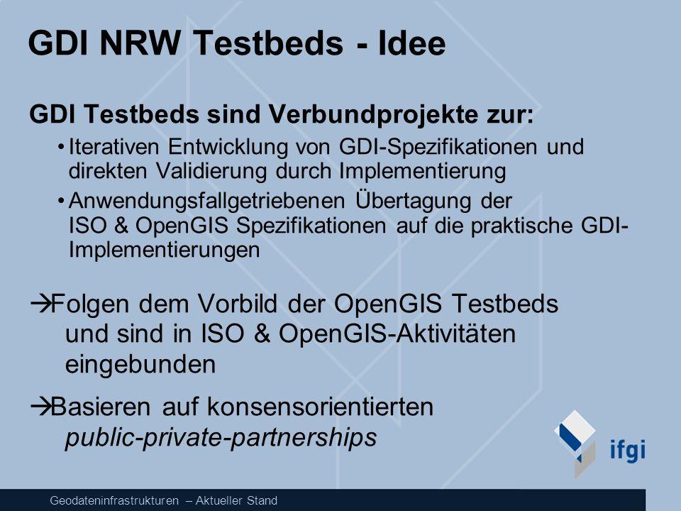 GDI NRW Testbeds - Idee GDI Testbeds sind Verbundprojekte zur: