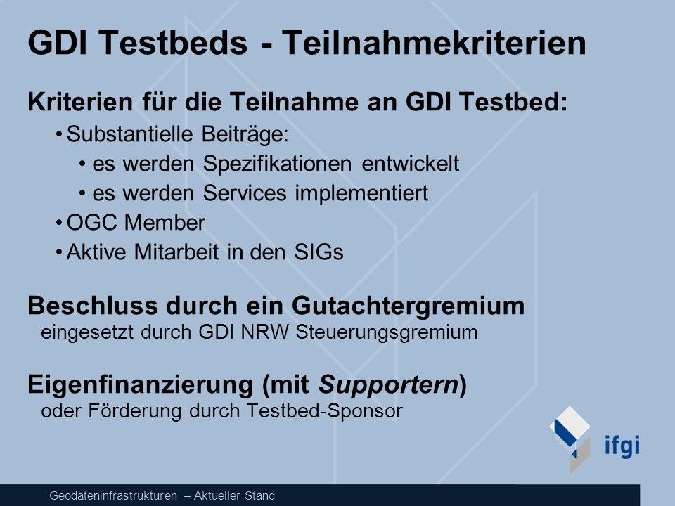 GDI Testbeds - Teilnahmekriterien