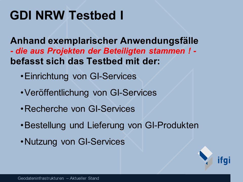 GDI NRW Testbed I Anhand exemplarischer Anwendungsfälle