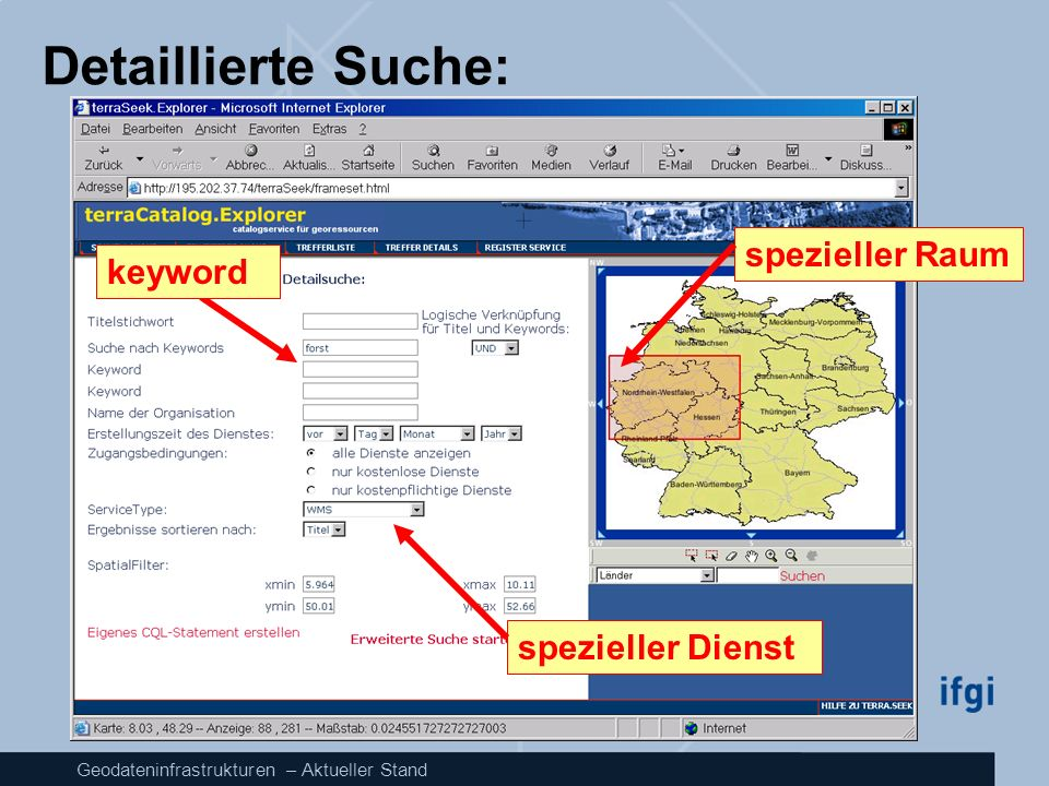 Detaillierte Suche: spezieller Raum keyword spezieller Dienst