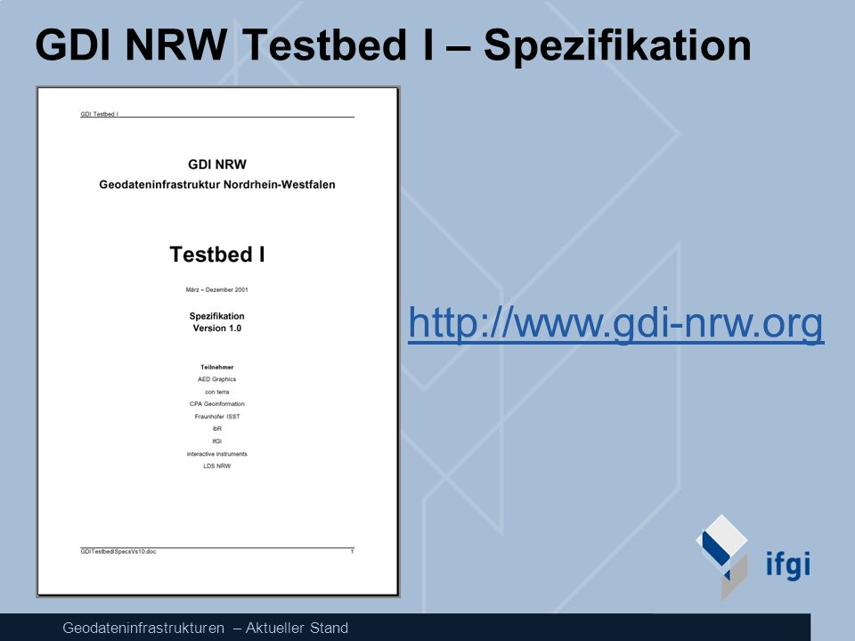 GDI NRW Testbed I – Spezifikation