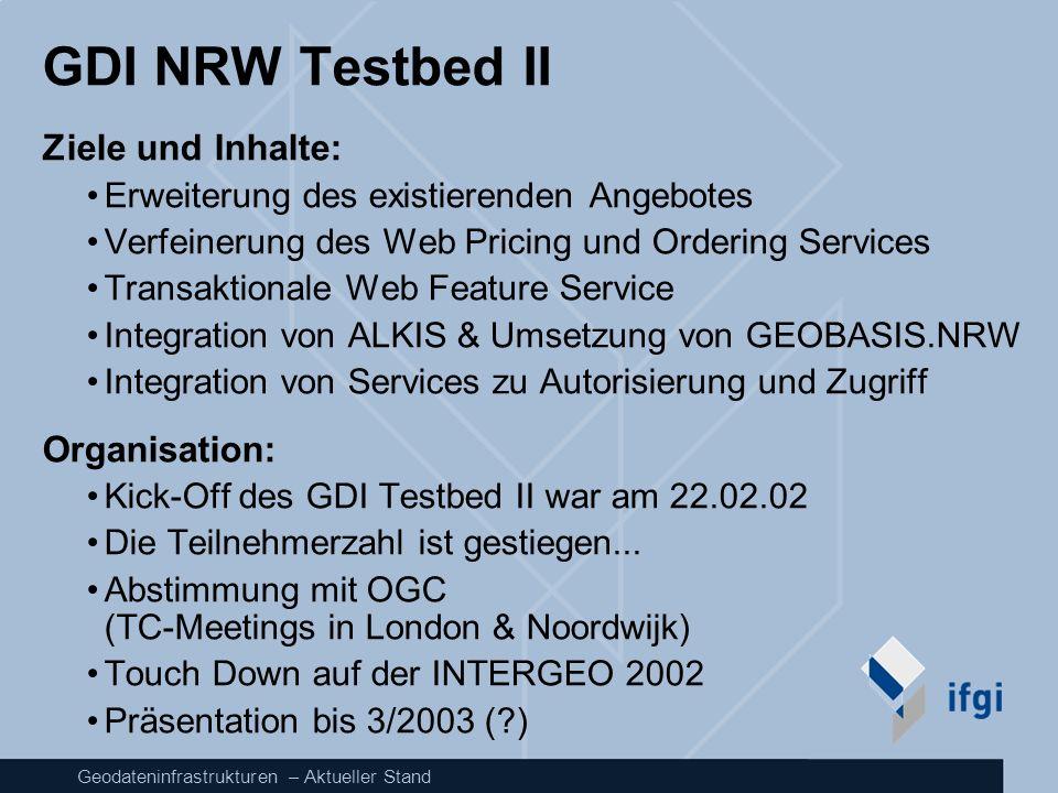 GDI NRW Testbed II Ziele und Inhalte: Organisation: