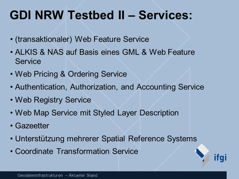 GDI NRW Testbed II – Services: