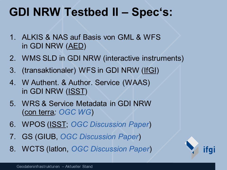 GDI NRW Testbed II – Spec's: