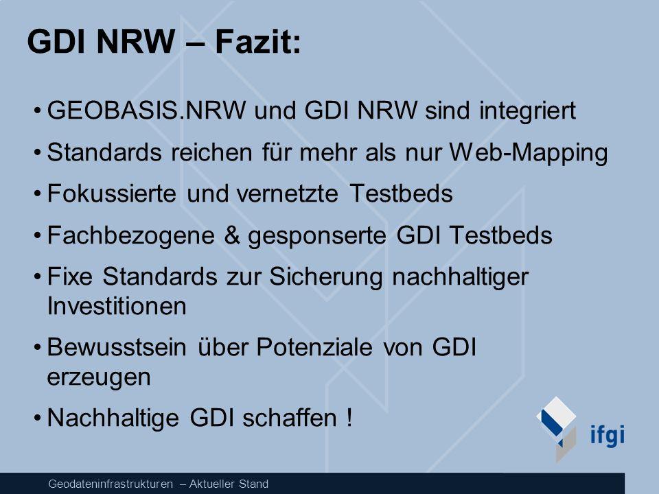 GDI NRW – Fazit: GEOBASIS.NRW und GDI NRW sind integriert