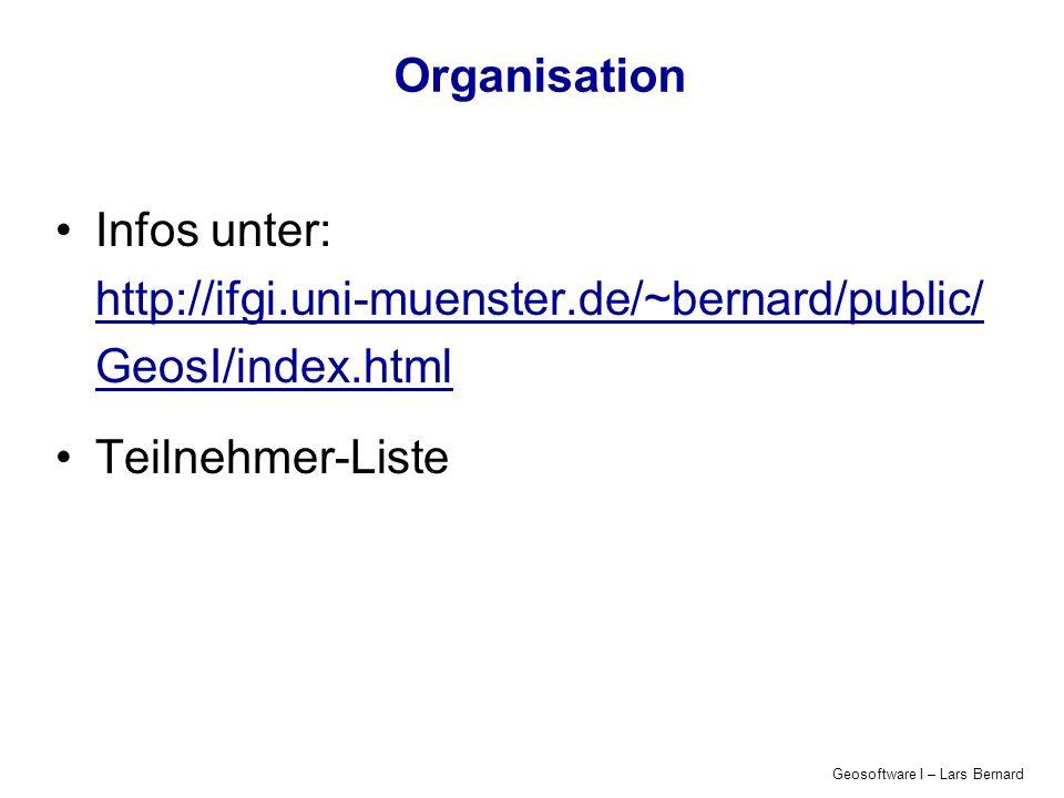 Organisation Infos unter: http://ifgi.uni-muenster.de/~bernard/public/ GeosI/index.html. Teilnehmer-Liste.