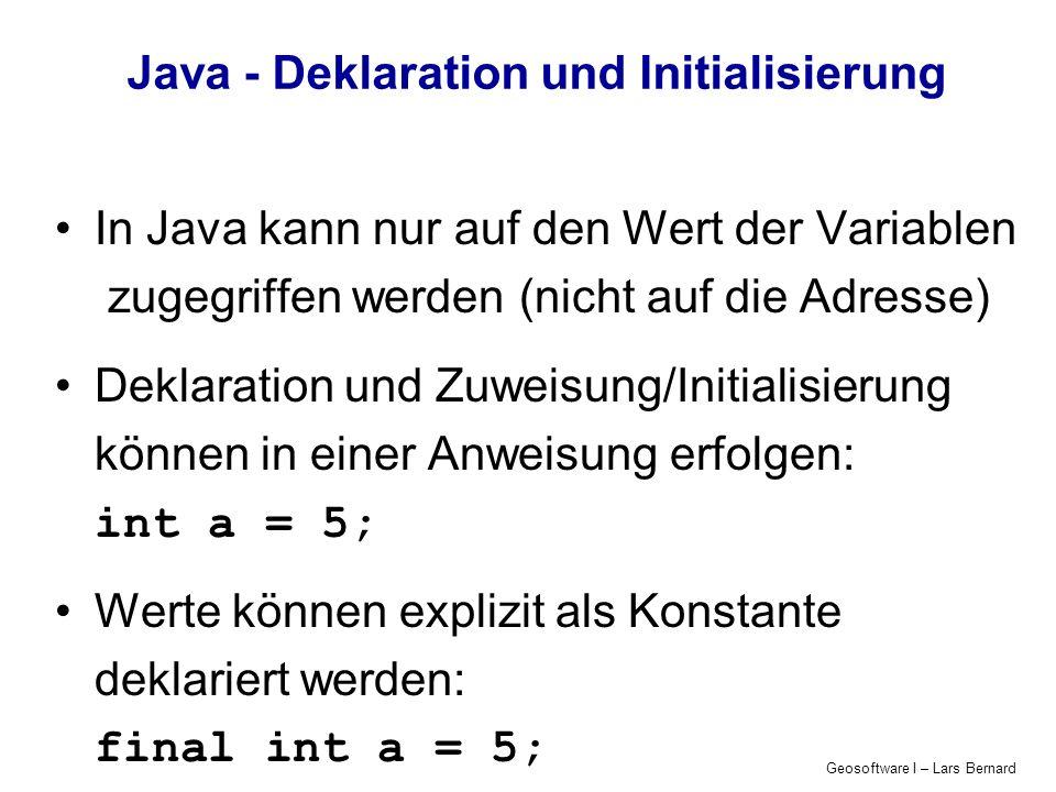 Java - Deklaration und Initialisierung