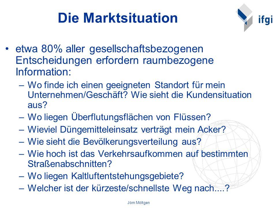 Die Marktsituationetwa 80% aller gesellschaftsbezogenen Entscheidungen erfordern raumbezogene Information: