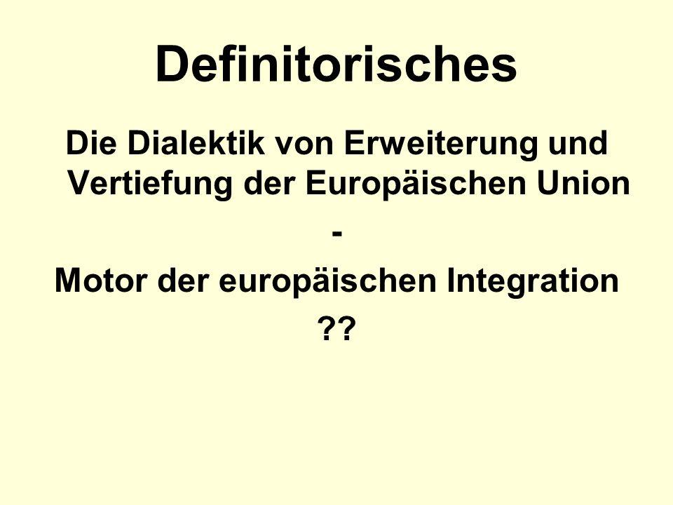 Definitorisches Die Dialektik von Erweiterung und Vertiefung der Europäischen Union. - Motor der europäischen Integration.
