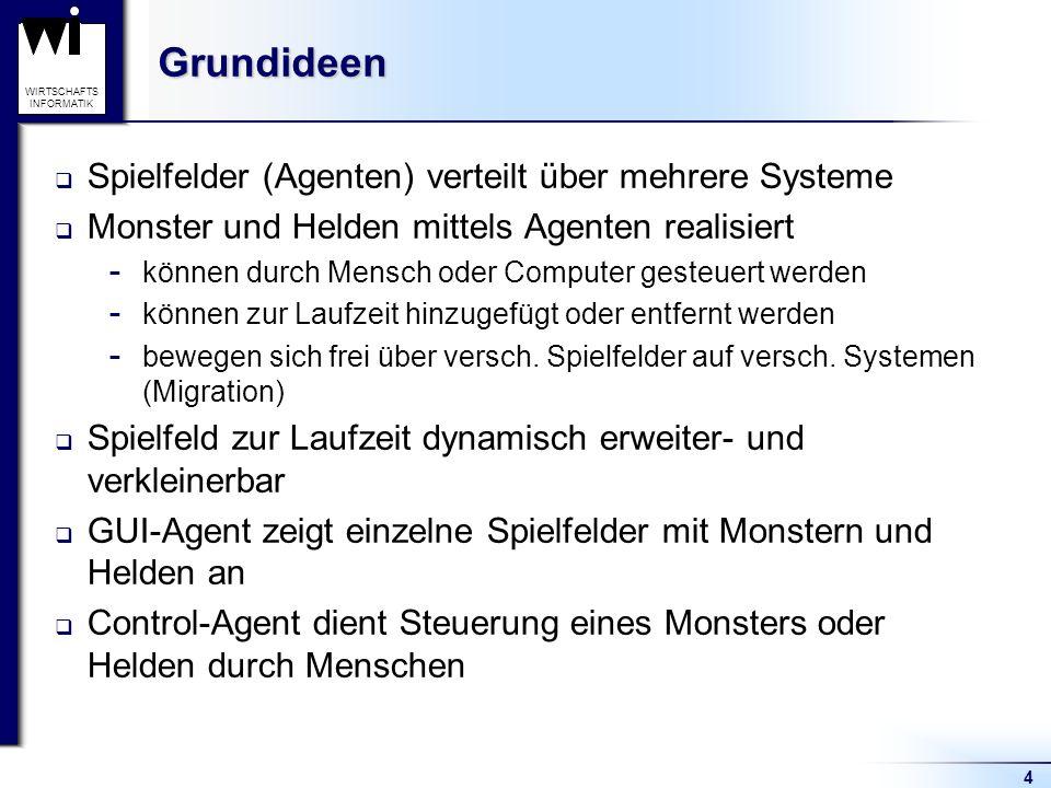 Grundideen Spielfelder (Agenten) verteilt über mehrere Systeme
