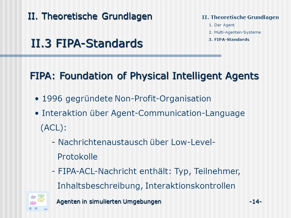 II.3 FIPA-Standards FIPA: Foundation of Physical Intelligent Agents