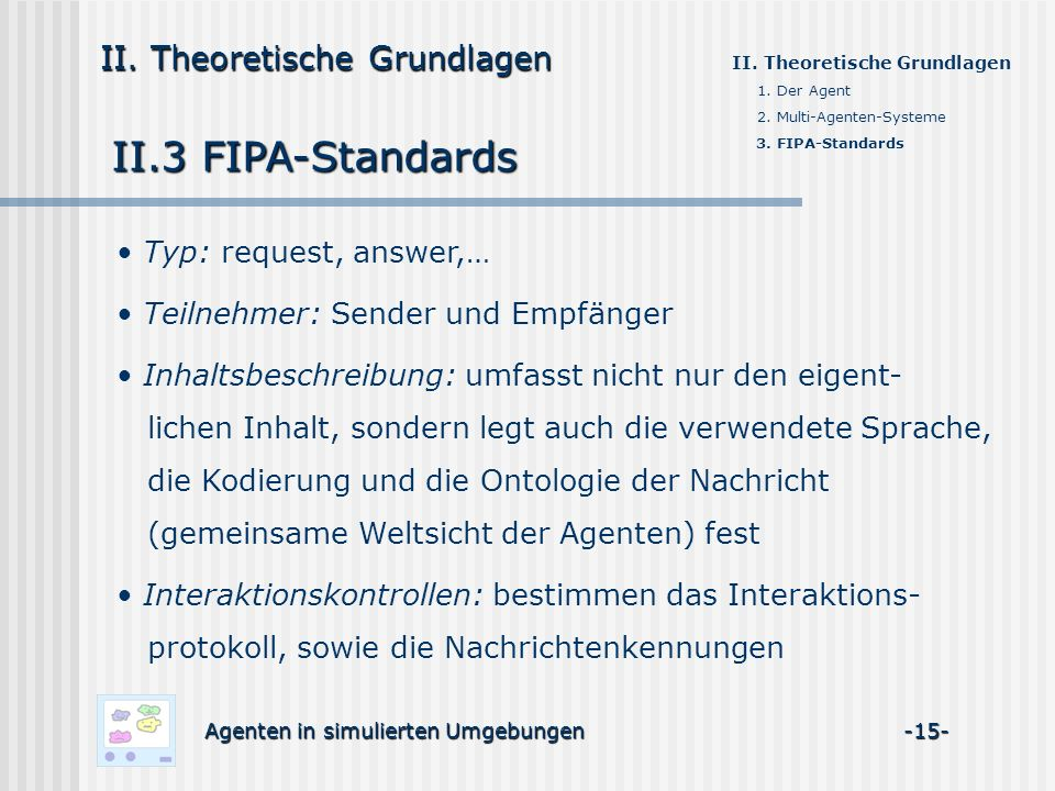 II.3 FIPA-Standards II. Theoretische Grundlagen Typ: request, answer,…