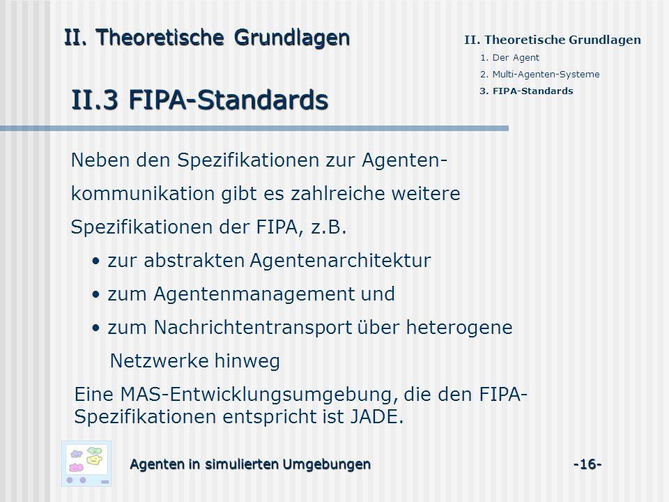 II.3 FIPA-Standards II. Theoretische Grundlagen