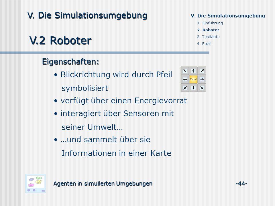 V.2 Roboter V. Die Simulationsumgebung Eigenschaften: