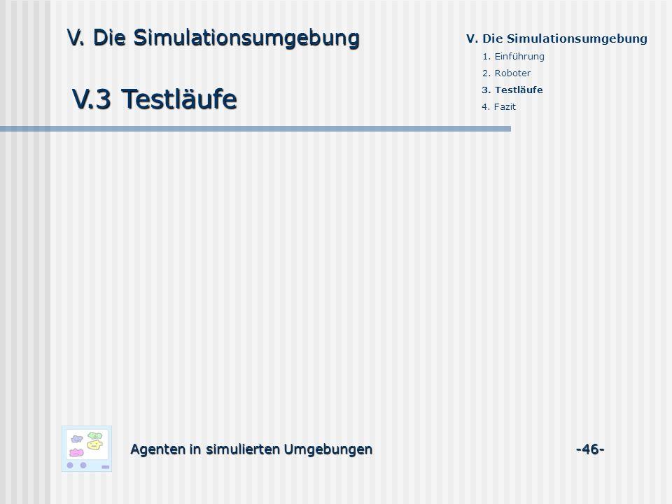 V.3 Testläufe V. Die Simulationsumgebung
