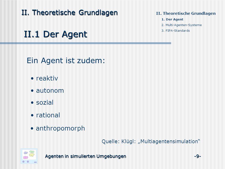 II.1 Der Agent Ein Agent ist zudem: II. Theoretische Grundlagen