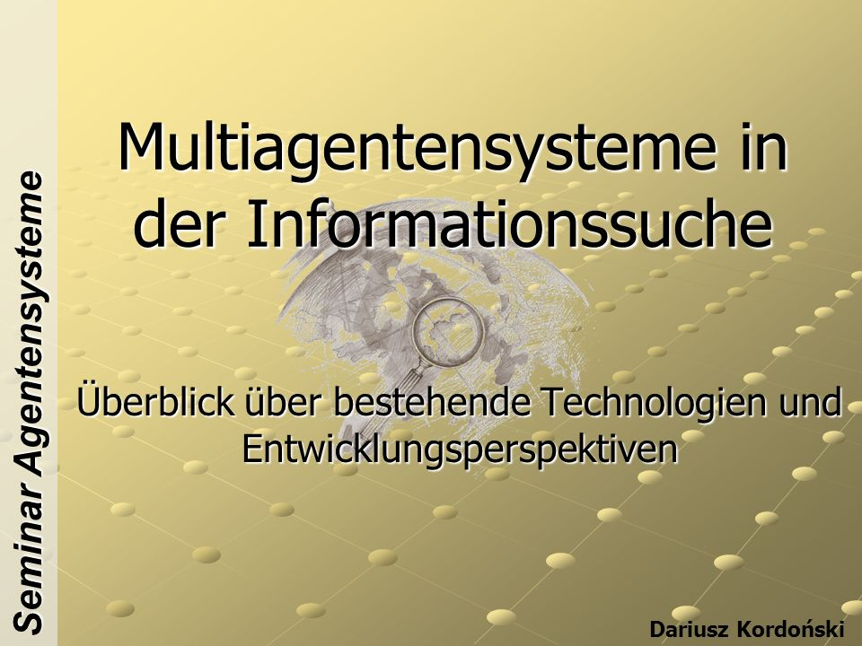 Multiagentensysteme in der Informationssuche