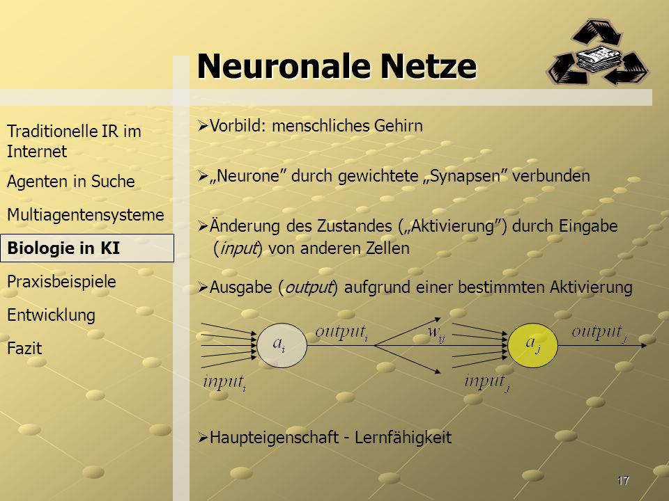 Neuronale Netze Vorbild: menschliches Gehirn