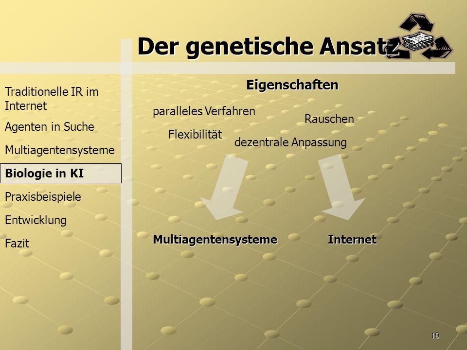 Der genetische Ansatz Eigenschaften Traditionelle IR im Internet